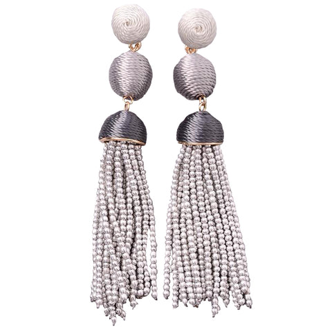 Threaded Bon Bon Beaded Tassel Earrings