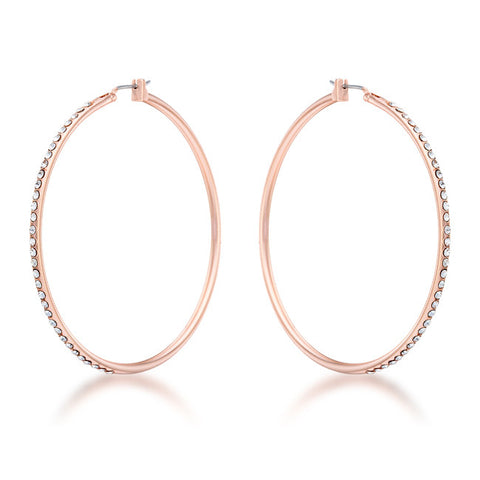 Rose Gold Crystal Hoop Earrings