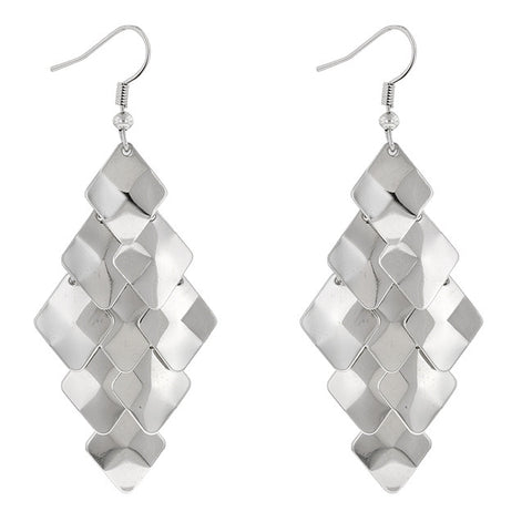 Teardrop Silver Tone Statement Earrings