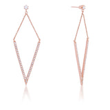 V Rose Gold Drop Earrings