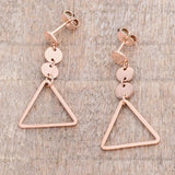 Rose Gold Triangle Drop Earrings
