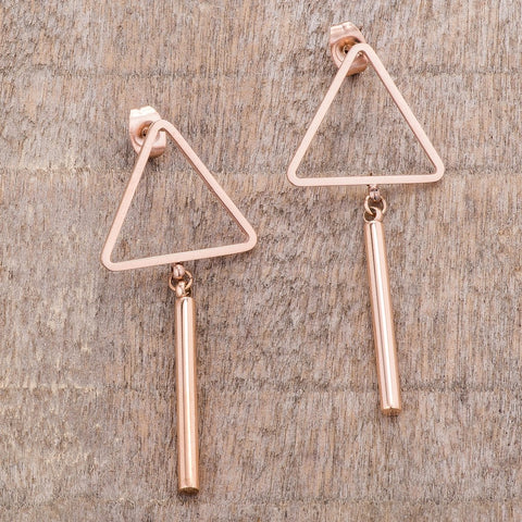 Rose Gold Triangle Bar Earrings