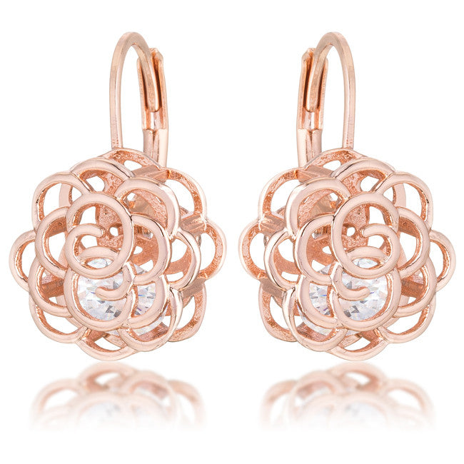 Rose Gold Rose Earrings