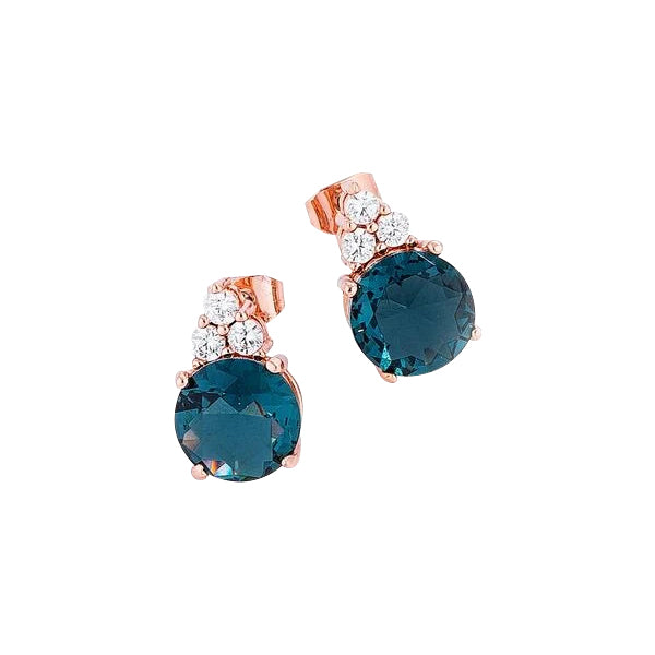 Blue Green CZ Stud Earring