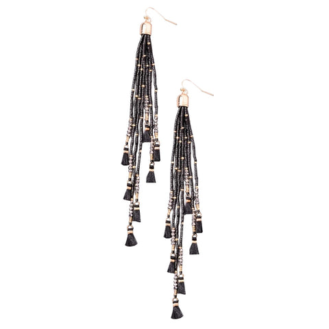Dainty beaded Mini Tassel Earrings