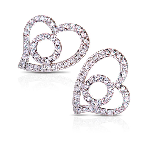 Heart & Circle Swarovski Elements Earrings