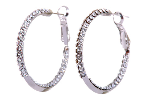 "Swarovski Pave 1 3/16"" Hoop Earrings"