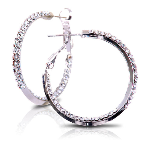 Accented Triple Loop Swarovski Elements Earrings