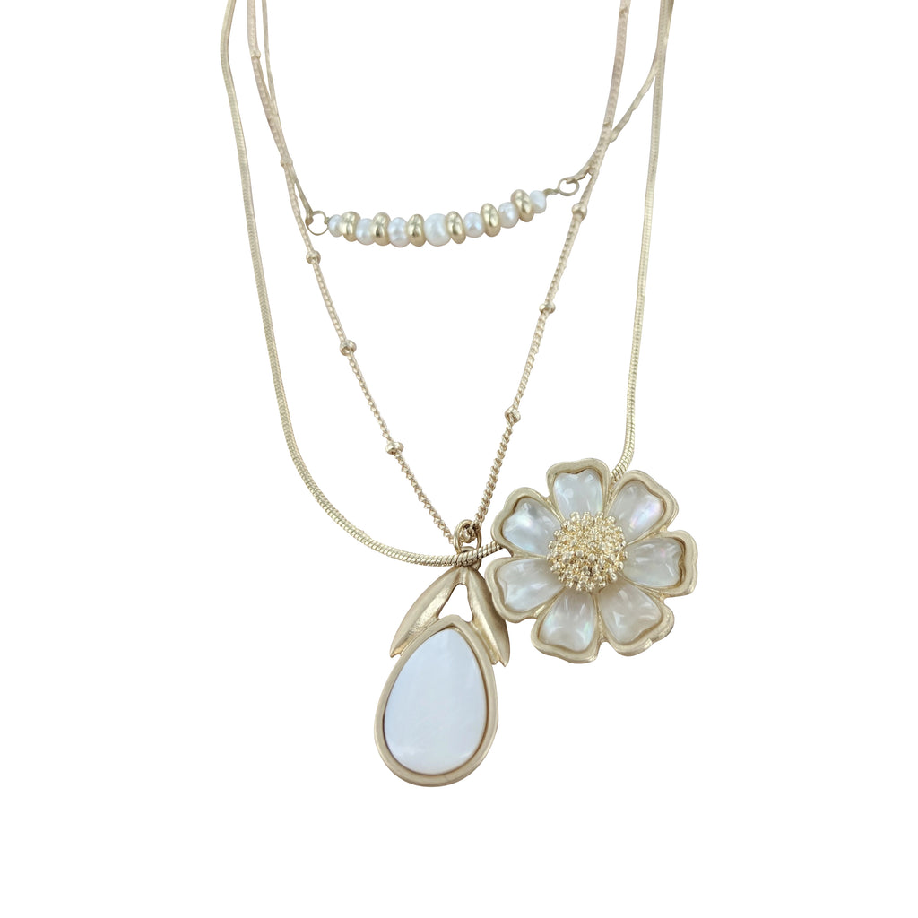 Triple Strand Pearl Daisy Necklace
