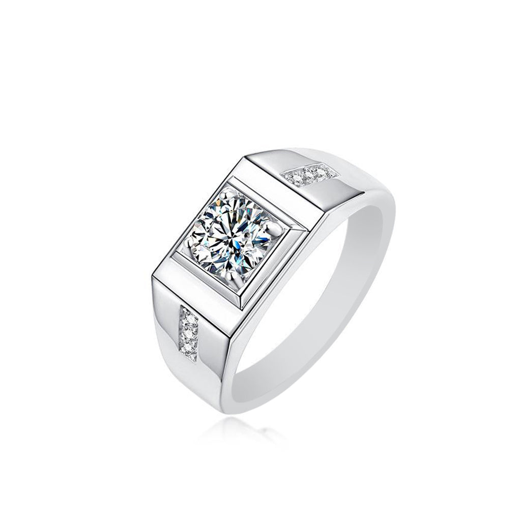 Manhattan Men's Moissanite Ring 925 Sterling Silver
