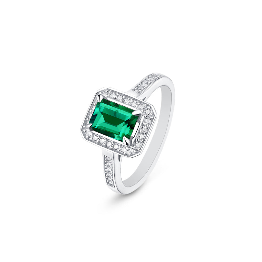 Manhattan Emerald Cut Moissanite Ring in 925 Sterling Silver