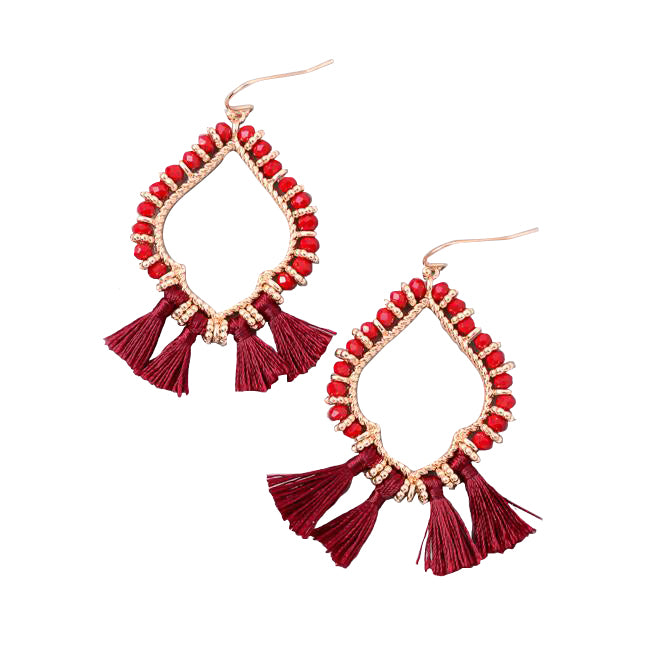 Festive Beaded Hoop Baby Tassel Earrings