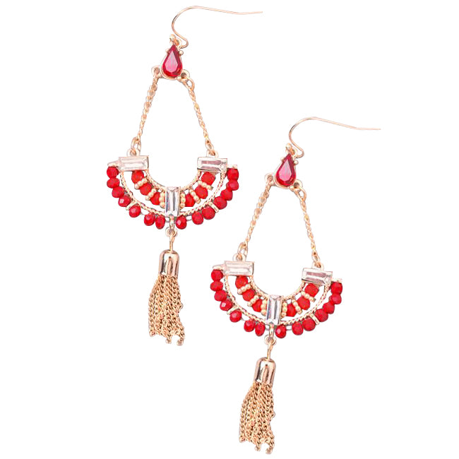 Crystal Beaded Statement Earrings