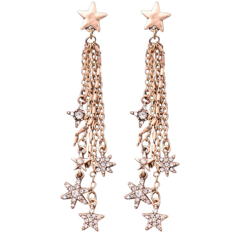 Drop Jewel Stars Dangle Earrings