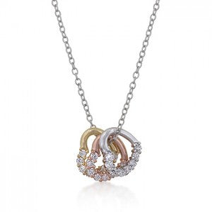 Triple Stand Multi Heart and Crystal Necklace