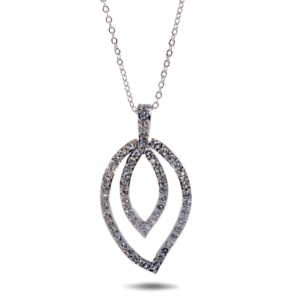 Swarovski  Elements Pave Leaf  Pendant Necklace