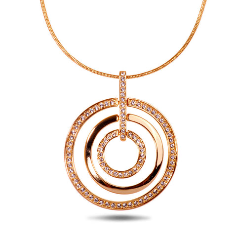Gold Swarovski Triple Loop Pendant Necklace