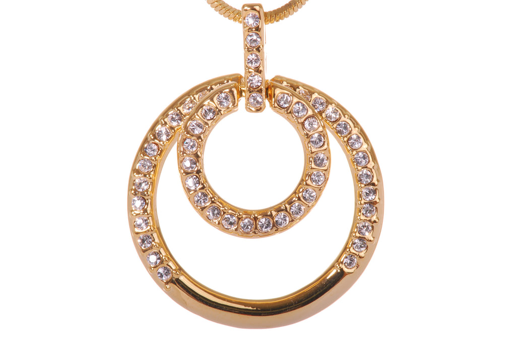 Gold Swarovski Crystal Double Loop Pendant Necklace