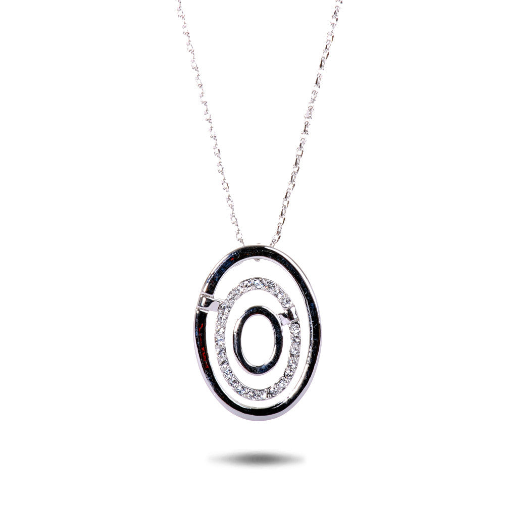 Swarovski Crystal Accent Triple Oval Pendant Necklace