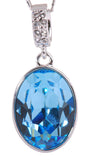 Blue Swarovski Oval Pendant Necklace