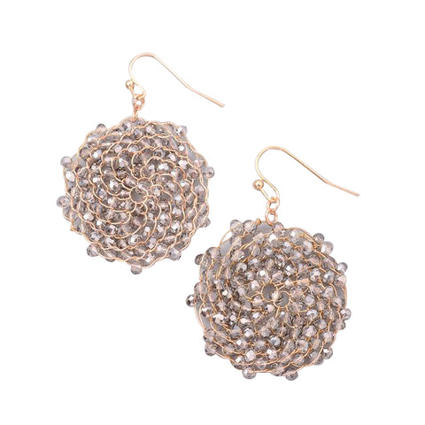 Sunburst Crystal Beaded Earrings