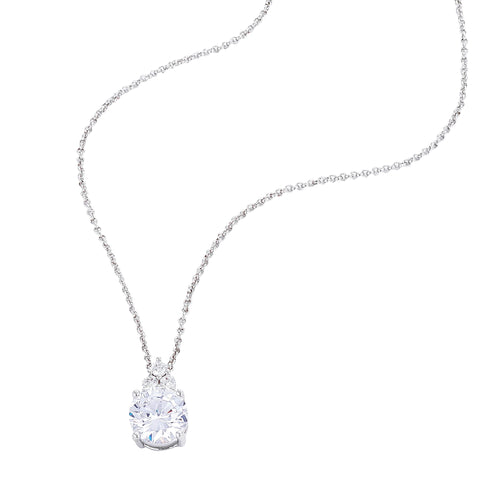Monaco Moissanite Halo 925 Silver Pendant Necklace