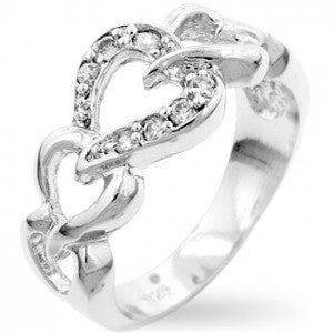 Dual Hearts Crystal Pave Ring