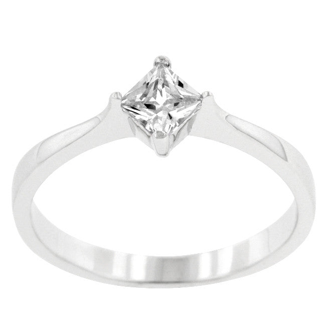 Minimal Princess Solitaire Ring