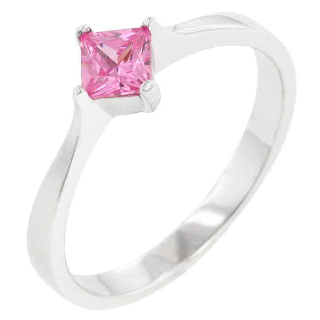 Minimal Pink Princess Solitaire Ring