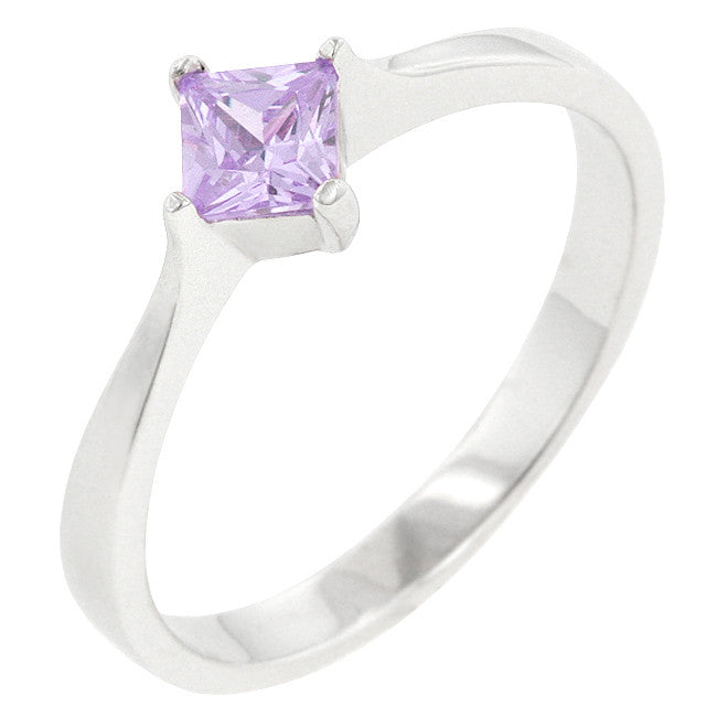 Minimal Lavender Princess Solitaire Ring