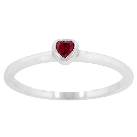 Minimal Ruby Red Heart Ring
