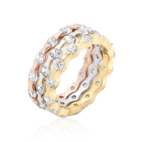 Stackable Flower Gold Plated Crystal Rings
