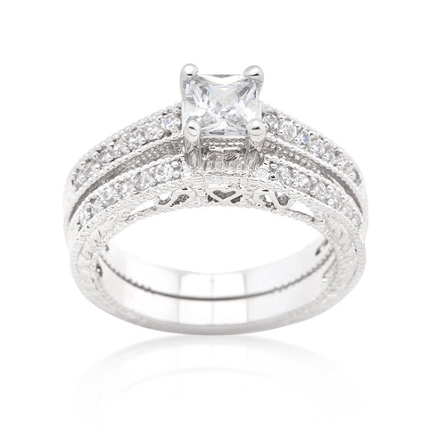 Filigree Princess Cut Wedding Ring Set