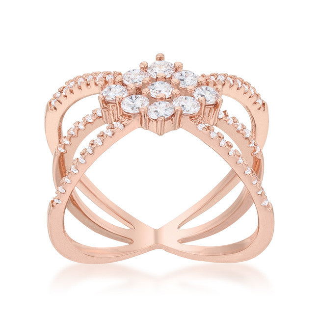 Rose Gold Cluster Wrap Ring