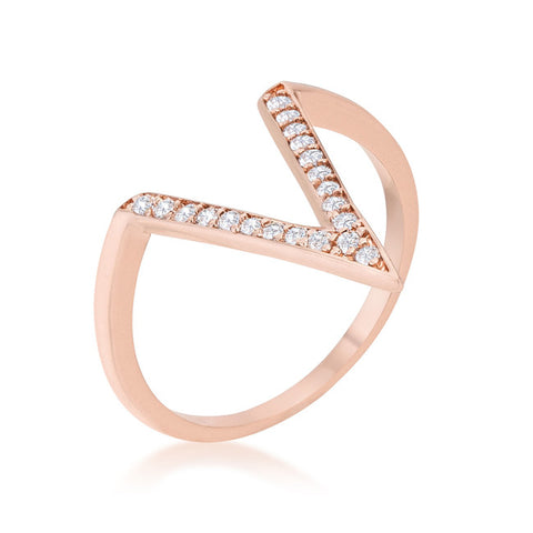 Rose Gold V CZ Ring