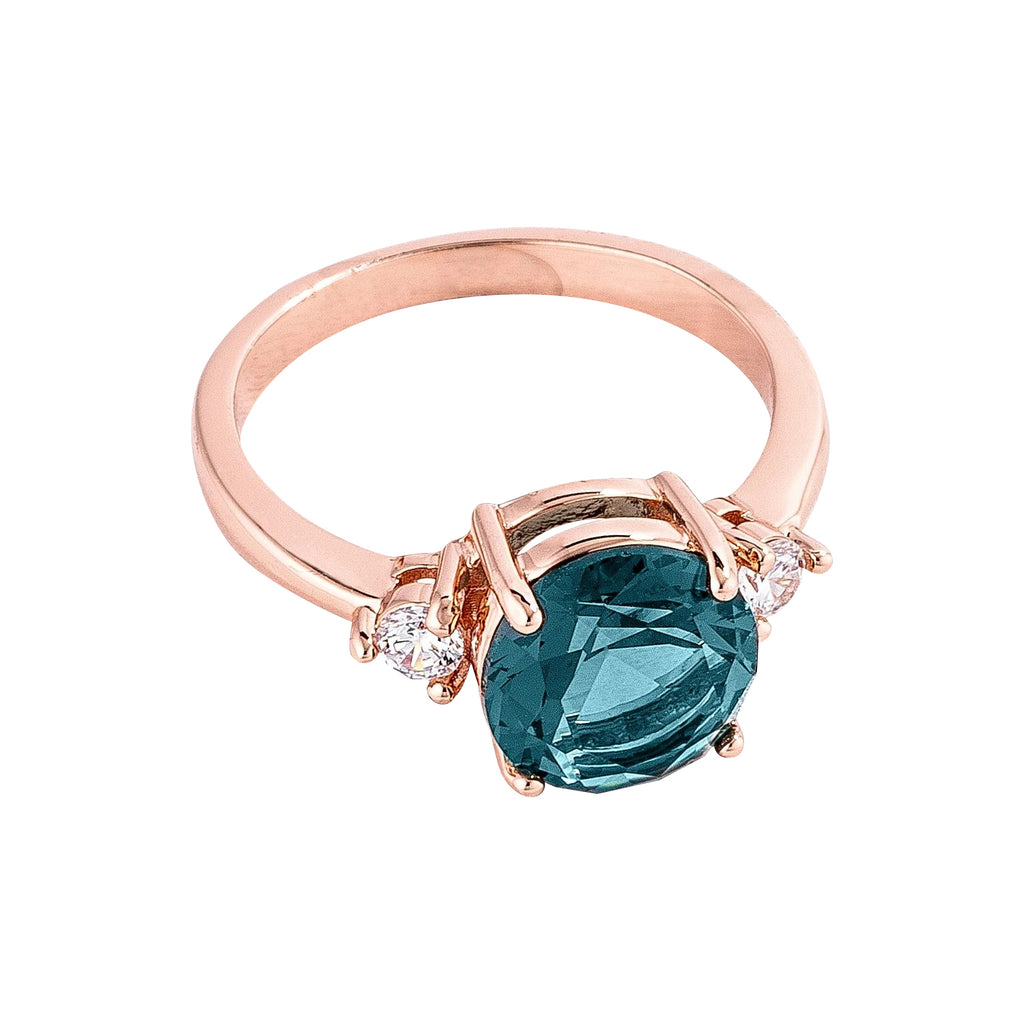 Blue Green Three Stone Engagement Ring