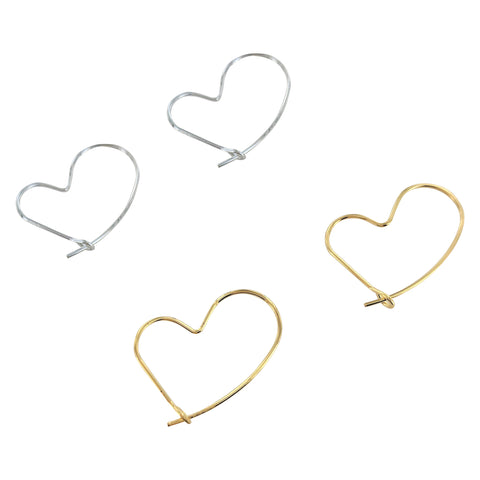 Heart Shaped Hoop Earrings - 14Karet