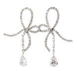 Delicate Bow Cubic Zirconia Drop Earrings