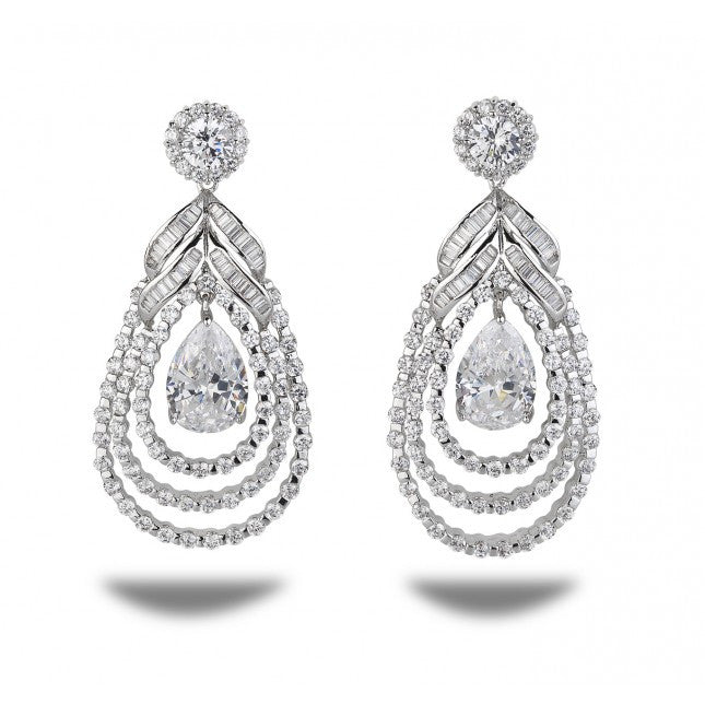 Radiant Teardrop Cubic Zirconia Earrings