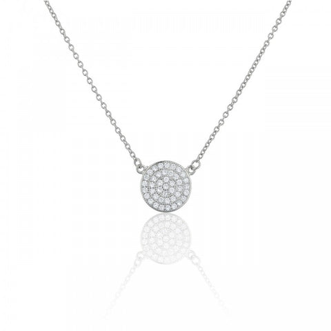 Pave Circle Sterling Silver Keepsake Pendant Necklace