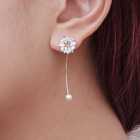 Asymmetric Long Short Pearl Earrings