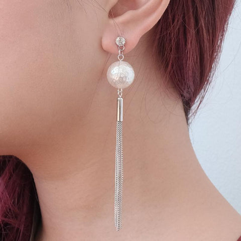 Pearl Bonbon Long Silver Tassel Statement Earrings