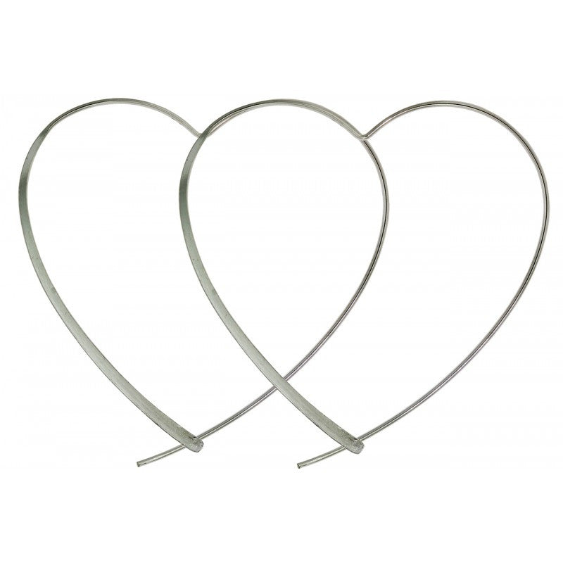 Sterling Silver Dainty Heart Hoops 40mm