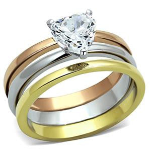 THREE TONE TRIANGLE RING Set