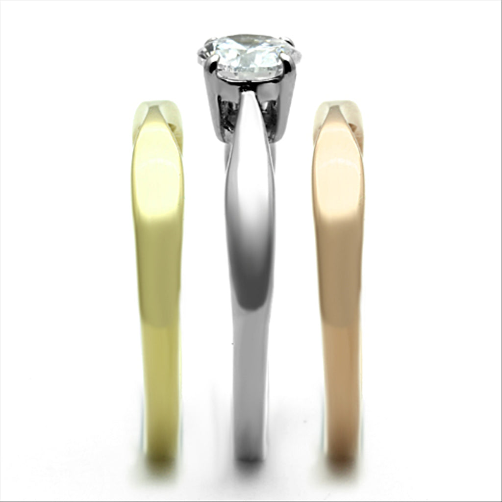 Three Tone Solitaire Ring Set