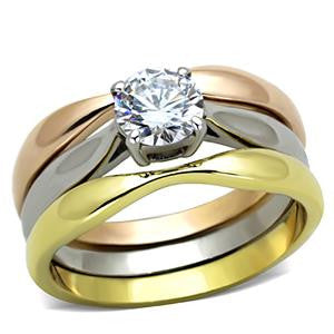Three Tone Princess Ring Set