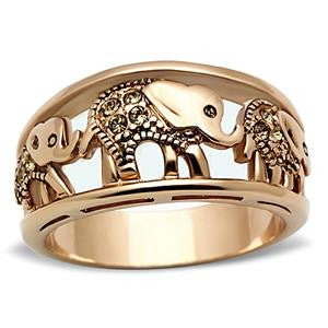 Rose Gold Elephant Family Ring