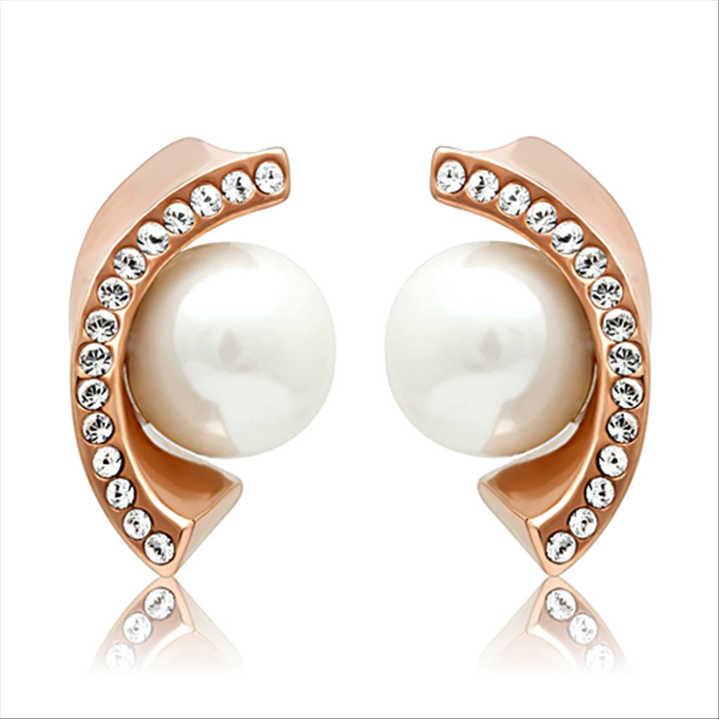 Rosalie Rose Gold Pearl Stud Earrings