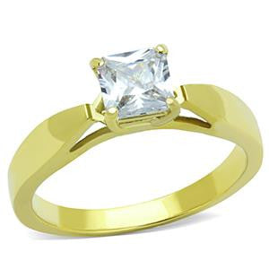Gold Princess Cut CZ Fashion Ring