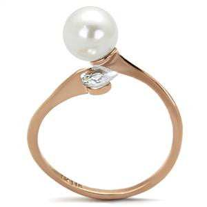 Rose Gold White Pearl Ring